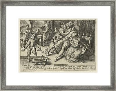 Rich Man With Two Whores, Anonymous Framed Print by Anonymous