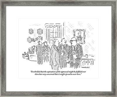 Rich Men In A Glamorous Men's Club Discuss Framed Print