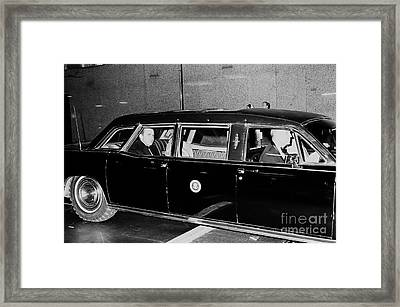 Richard Nixon And Wife Pat In Limousine Framed Print