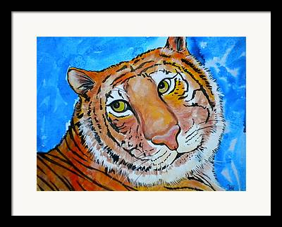 The Tiger Mixed Media Framed Prints