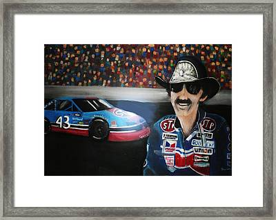 Richard Petty And Stp #43 Car Framed Print by Shannon Gerdauskas
