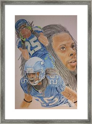 Richard Sherman Collage Framed Print by Angela Q