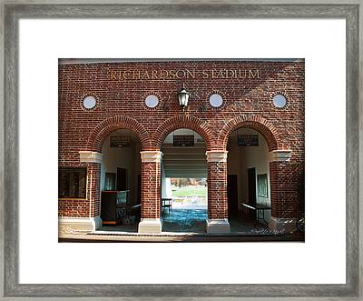 Richardson Stadium Main Gate - Davidson College Framed Print by Paulette B Wright