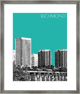 Richmond Skyline - Teal Framed Print