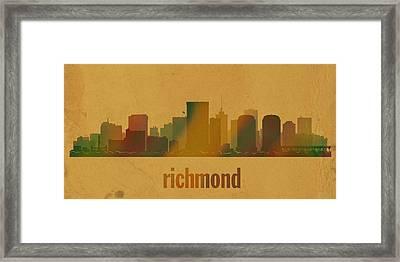 Richmond Virginia City Skyline Watercolor On Parchment Framed Print