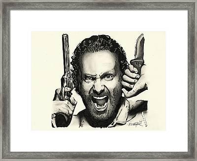 Rick Grimes Framed Print by Scot Gotcher