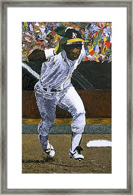 Rickey Henderson Framed Print by Mike Rabe