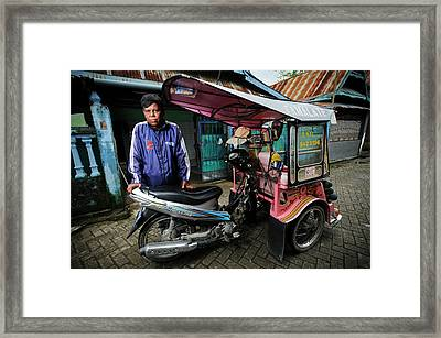 Rickshaw Driver With Leprosy Framed Print by Matthew Oldfield