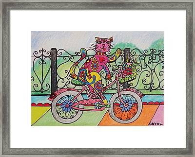 Ride Kitty Ride Framed Print by Carol Hamby