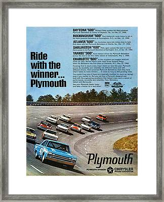 Ride With The Winner... Plymouth Framed Print by Digital Repro Depot