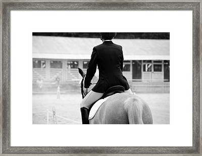 Rider In Black And White Framed Print by Jennifer Ancker