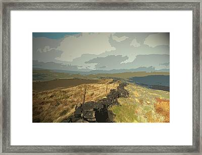 Ridge Between Cats Tor And Pym Chair, A Broken Dry Stone Framed Print