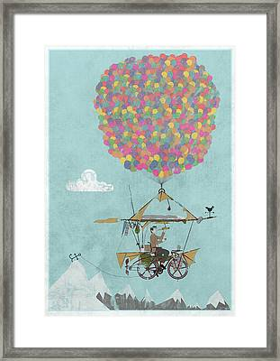 Riding A Bicycle Through The Mountains Framed Print by Andy Scullion