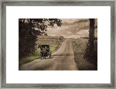 Riding Down A Country Road Framed Print by Tom Mc Nemar
