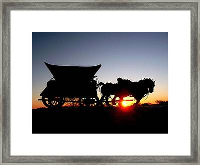Riding Into The Sunset Framed Print by Larry Trupp