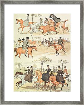 Riding Side-saddle Framed Print by Randolph Caldecott