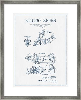Riding Spurs Patent Drawing From 1959 - Blue Ink Framed Print