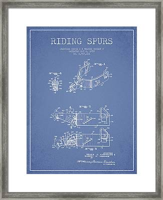Riding Spurs Patent Drawing From 1959 - Light Blue Framed Print by Aged Pixel