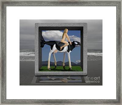 Riding The Cow Whale Framed Print