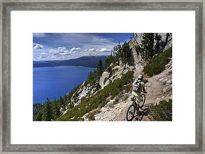 Riding The Flume Trail Framed Print by Peter Thoeny