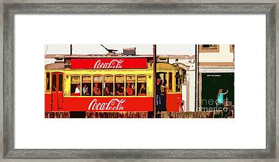 Riding The Tram - Vectorized Framed Print by Mary Machare