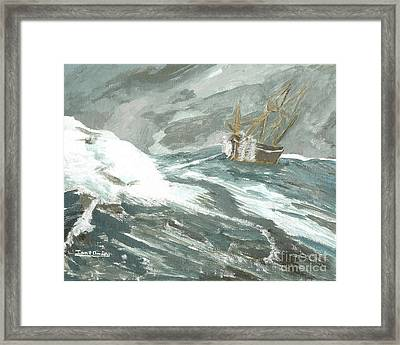 Riding The Waves On The Sea Framed Print by Ian Donley