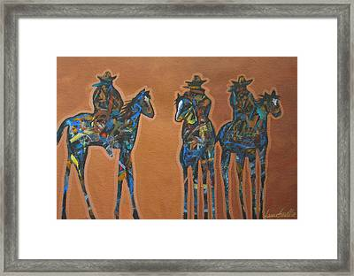 Riding Three Framed Print by Lance Headlee