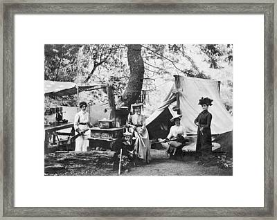 Rifle Women In Camp Framed Print by Underwood Archives