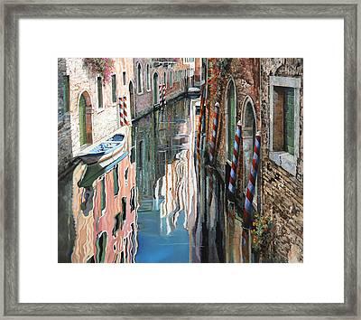 Riflessi Colorati A Venezia Framed Print by Guido Borelli