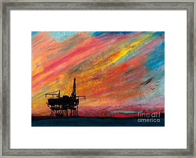 Rig At Sunset Framed Print