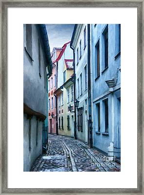 Riga Narrow Street Painting Framed Print
