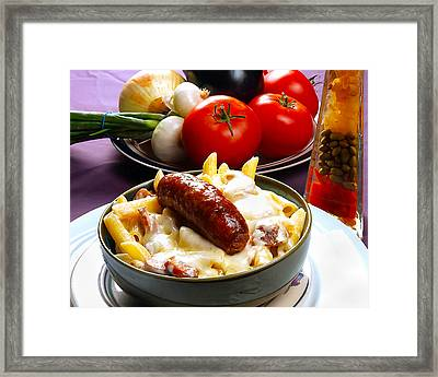 Rigatoni And Sausage Framed Print