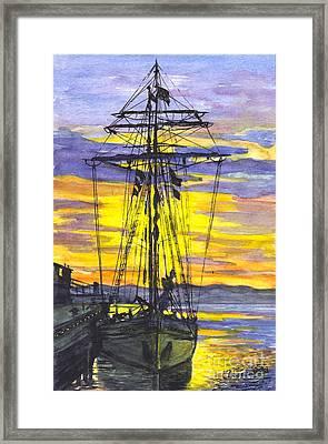 Rigging In The Sunset Framed Print by Carol Wisniewski