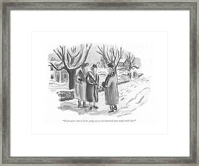 Right After Church We're Going To Try Hot Framed Print by Helen E. Hokinson