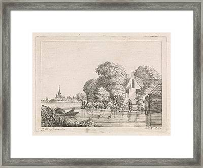 Right For A House, A Man Sits On A Pier Angling And A Woman Framed Print by Artokoloro