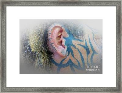 Right Side Face Tattoo Framed Print by Tina M Wenger