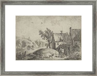 Right Two Houses In A Landscape, Two Men And A Dog Framed Print by Artokoloro