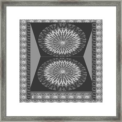 Rights Managed Images For Download Bnw Black N White Chakra Mandala Decorations For Yoga Meditation  Framed Print by Navin Joshi