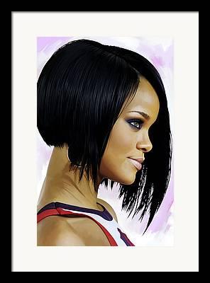 Rihanna Mixed Media Framed Prints