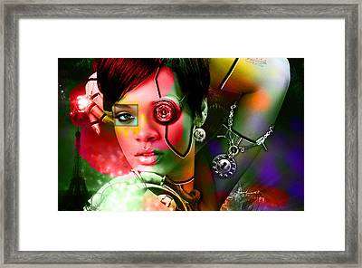 Rihanna Over Rihanna Framed Print by Marvin Blaine