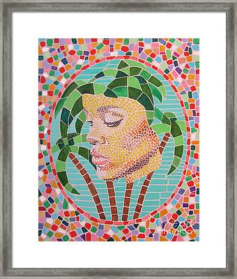 Rihanna Portrait Painting In Mosaic  Framed Print by Jeepee Aero