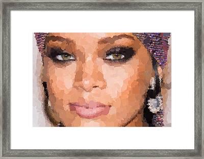 Rihanna Portrait Framed Print by Samuel Majcen
