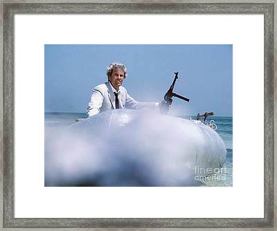 Rik Van Nutter Landing A Raft On The Set Of Thunderball Framed Print by The Harrington Collection