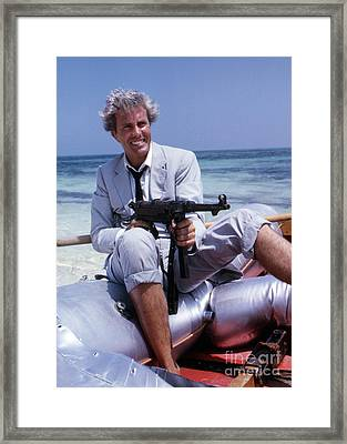 Rik Van Nutter On A Raft On The Set Of Thunderball Framed Print by The Harrington Collection