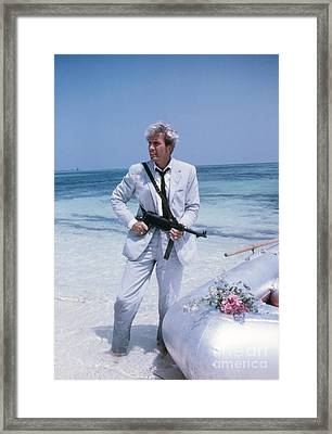 Rik Van Nutter On The Set Of Thunderball Framed Print by The Harrington Collection