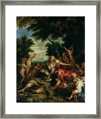 Rinaldo And Armida, Oil On Canvas Framed Print by Sir Anthony van Dyck