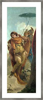 Rinaldo Turning In Shame From The Magic Shield Framed Print by Giovanni Battista Tiepolo