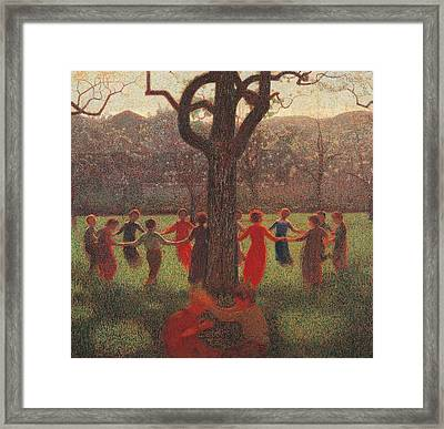 Ring-around-the-rosey Framed Print by Giuseppe Pelizza da Volpedo