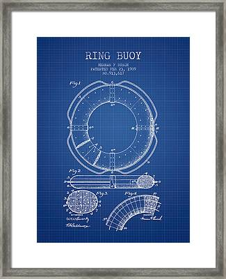 Ring Buoy Patent From 1909 - Blueprint Framed Print by Aged Pixel