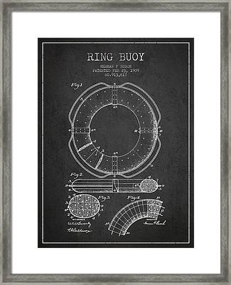 Ring Buoy Patent From 1909 - Charcoal Framed Print by Aged Pixel